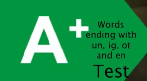Words ending with un, ig, ot and en - Test